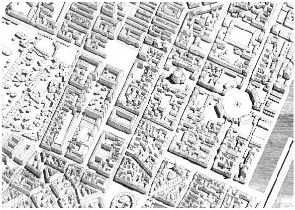 Representación del área comprendida entre el entorno de la plaza Amalienborg y los jardines de Rosenborg, en Copenhague, según Rasmussen. Tomada de: Rasmussen, S. E., Kobenhavn, Copenhague: G.E.C. Gads Forlag, 1974.