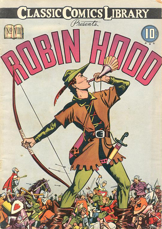 Portada revista Robin Hood de Classics Illustrated, 1938, il•lustracions de Louis Zansky.