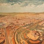 CASTELUCHO-VENDRELL, A. (c.1872), Vista d'ocell sobre el parc de la Ciutadella segons el projecte de Josep Fontseréi Mestre. MUHBA.