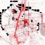 Superposició dels àmbits fotografiats per turistes a Barcelona (vermell) i la síntesi de l'estructura d'activitat de l'àmbit (negre).