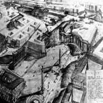 """Proyecto de aislamiento del Panteón de Roma. Armando Brasini, 1925. El proyecto formaba parte de la """"Via Mussolini"""", una gran avenida que iría desde el Mausoleo de Augusto hasta el Coliseo y que derribaba la casi totalidad del centro de Roma para aislar los monumentos de la Antigüedad."""