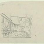 Dibujo del patio de la Casa-estudio del escultor Efthymiadou, 1949. Dimitris Pikionis. ANA-67-24-22. (Fuente: Archivo Dimitris Pikionis, Benaki Museum Athens)