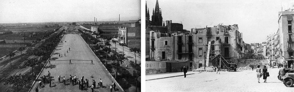 Processos històrics d'obertura de carrers: Gran Via de les Corts Catalanes i Via Laietana.