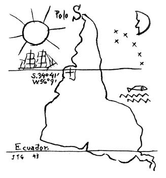 """Es justamente este perfil técnico el que nos da la ilusión de que el mapa es más o menos creíble. Y con esta apariencia """"científica"""" los mapas han ido imponiendo de a poco formas de ver la realidad. Basta con comparar nuestra visión occidental del planisferio con la oriental... o la utilización actual de la proyección de Mercator que nos muestra una Groenlandia más grande que China o el continente africano del tamaño de Europa... o volver a mirar la reaccionaria y ya clásica """"América invertida"""" (1943) del uruguayo Joaquín Torres García."""